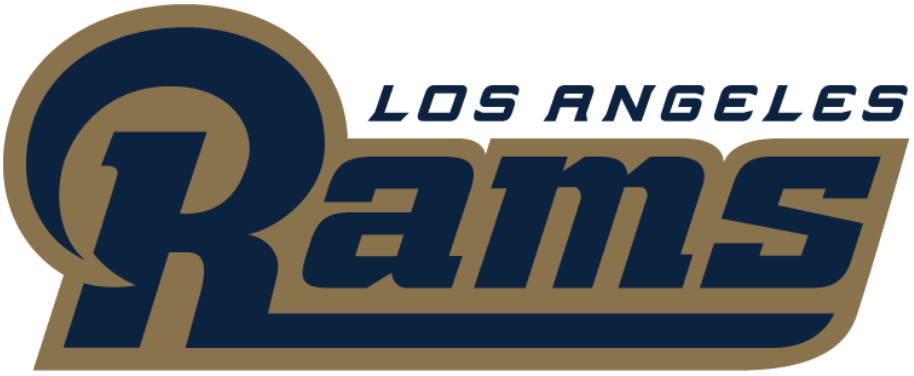 Los Angeles Rams Logo Wordmark Logo (2016) - Rams in blue with a gold outline, Los Angeles above in blue SportsLogos.Net