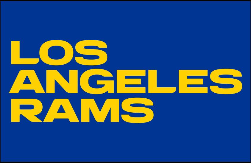 Los Angeles Rams Logo Wordmark Logo (2020-Pres) - LOS ANGELES RAMS stacked in yellow on blue SportsLogos.Net