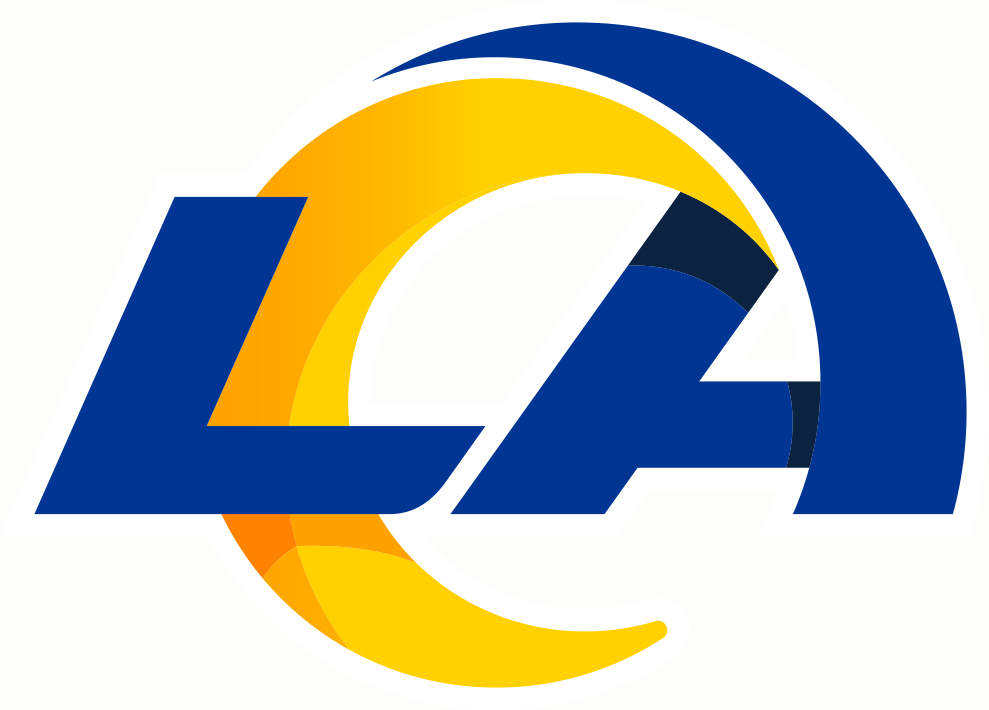 Los Angeles Rams Logo Primary Logo (2020-Pres) - LA in blue italics with the A arched back in blue and yellow to form a ram's horn SportsLogos.Net