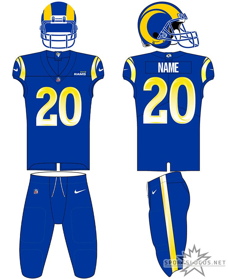 Los Angeles Rams Uniform Home Uniform (2020-Pres) - Los Angeles Rams all blue uniform 2020, blue jersey with gradient yellow numbers, blue pants SportsLogos.Net