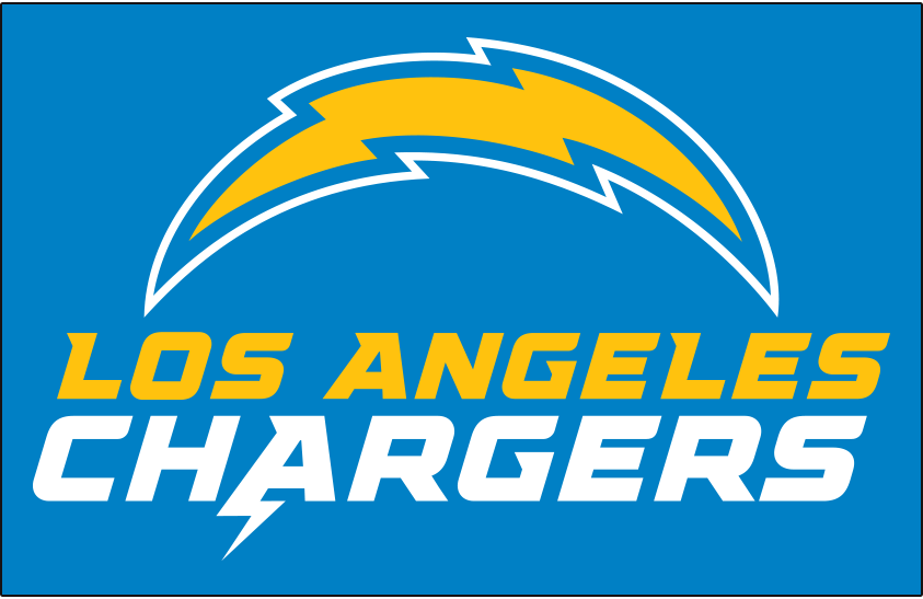 Los Angeles Chargers Logo Alternate Logo (2020-Pres) - Chargers lightning bolt logo above team name in yellow and white on blue SportsLogos.Net