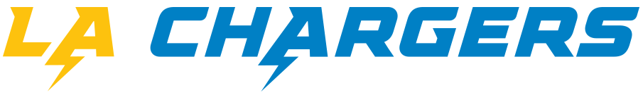 Los Angeles Chargers Logo Wordmark Logo (2020-Pres) - LA Chargers in yellow and blue SportsLogos.Net