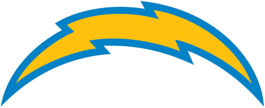 Los Angeles Chargers Logo Primary Logo (2020-Pres) - A yellow and light blue arched lightning bolt, navy blue eliminated from previous logo and the arch bolt has been reduced SportsLogos.Net