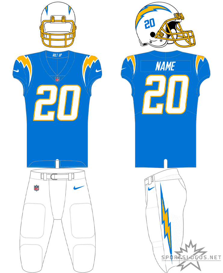 Los Angeles Chargers Uniform Home Uniform (2020-Pres) - For home games, typically, the Los Angeles Chargers will wear this powder blue top with white numbers trimmed in gold. The Chargers helmet is white with a gold facemask and each player's number shown on the side under the logo. Pants are usually white but this uniform can also be worn with gold pants if the team so chooses. SportsLogos.Net
