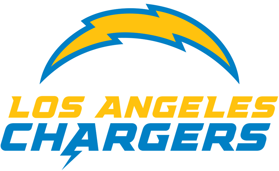 Los Angeles Chargers Logo Alternate Logo (2020-Pres) - Chargers lightning bolt logo above team name in yellow and blue SportsLogos.Net