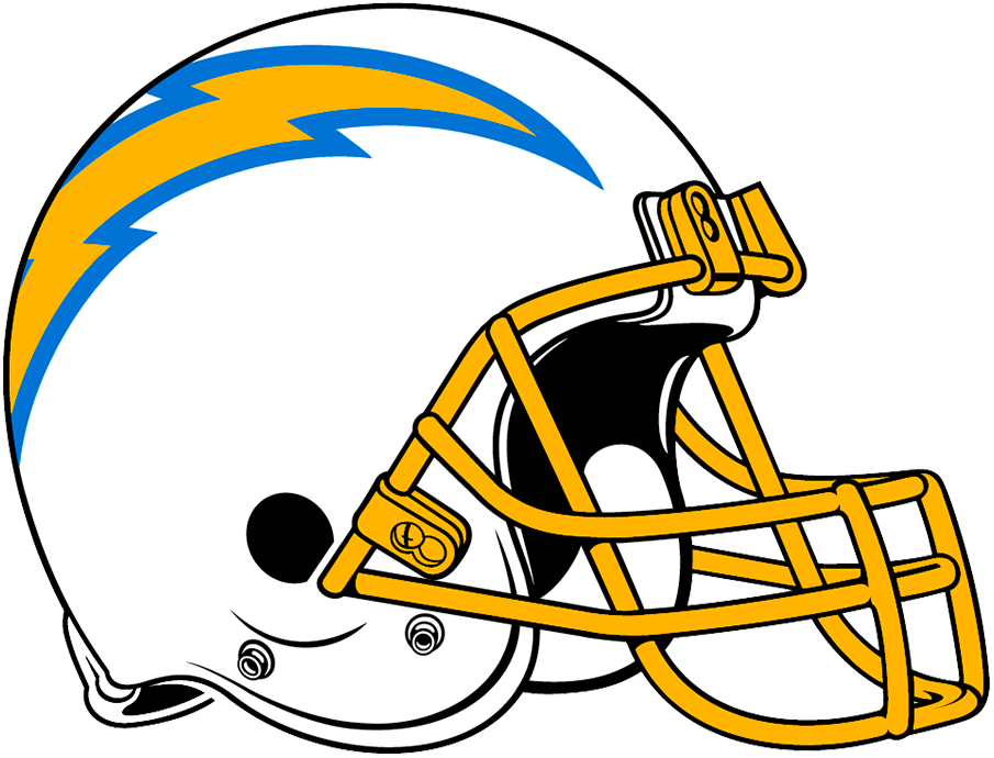 Los Angeles  Chargers Helmet Helmet (2020-Pres) - When the Los Angeles Chargers introduced a slightly new look in 2020 the helmet was no exception. Retaining the white shell and gold facemask, the lightning bolt logo on the side reduced its outlines from two blues to just powder. When used during a game a player number also now appears on the side under the arched bolt logo. SportsLogos.Net