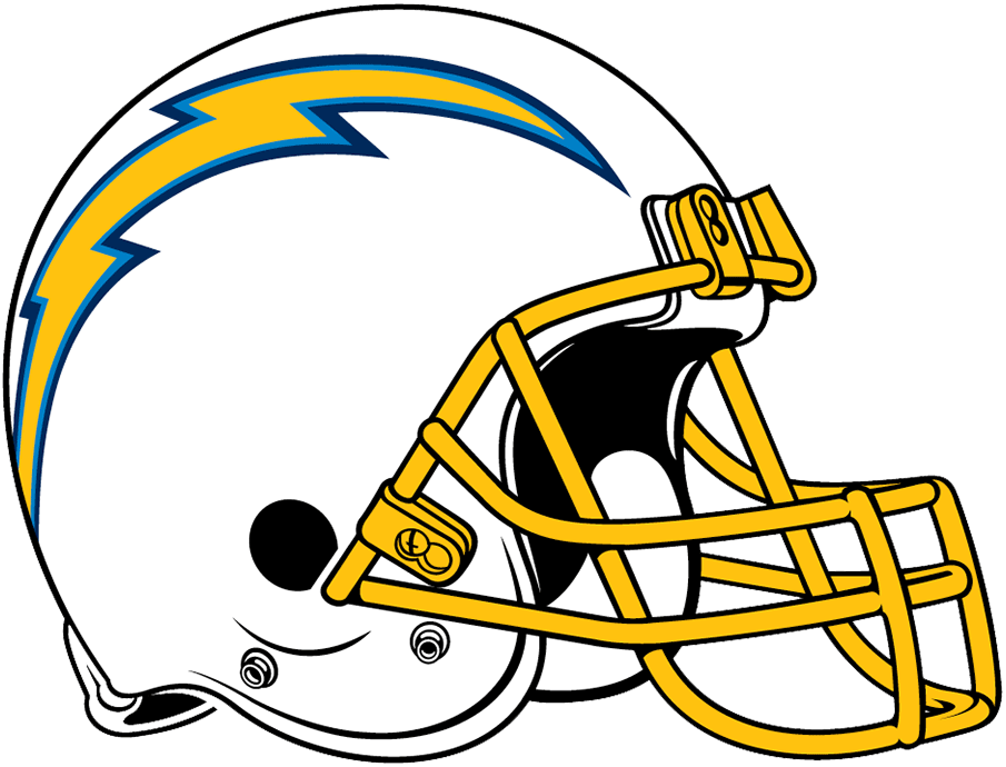 Los Angeles Chargers Helmet Helmet (2019) - White shell with yellow/powder blue/navy blue lightning bolt on the side and a gold facemask SportsLogos.Net