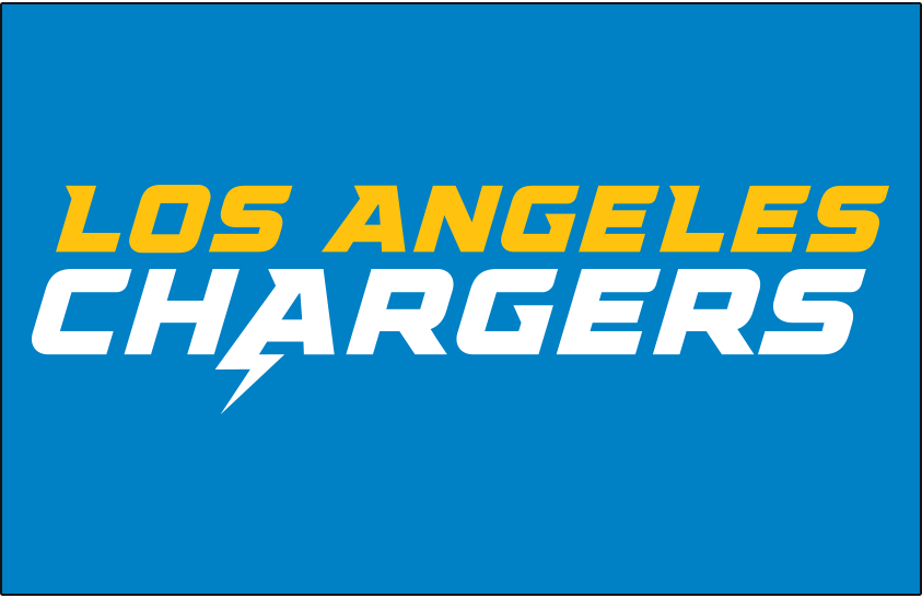 Los Angeles Chargers Logo Wordmark Logo (2020-Pres) - Los Angeles Chargers in white and yellow on blue SportsLogos.Net