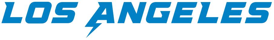 Los Angeles Chargers Logo Wordmark Logo (2020-Pres) - Los Angeles in blue SportsLogos.Net