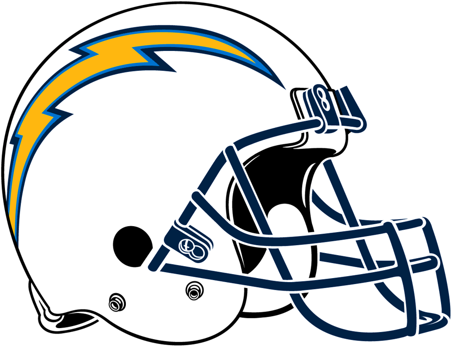 Los Angeles  Chargers Helmet Helmet (2017-2019) - Upon their relocation up the coast from San Diego to Los Angeles in 2017, the Chargers retained their white helmet with a gold lightning bolt on the side. Note that for just the 2019 season only this particular configuration, with the blue facemask, was reservered only for games played with the Chargers alternate navy blue uniforms. SportsLogos.Net