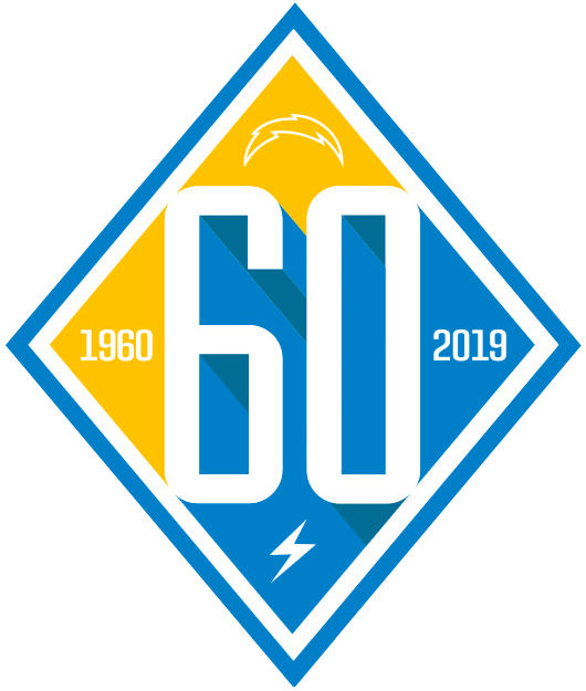 Los Angeles Chargers Logo Anniversary Logo (2019) - Los Angeles Chargers 60th season logo SportsLogos.Net