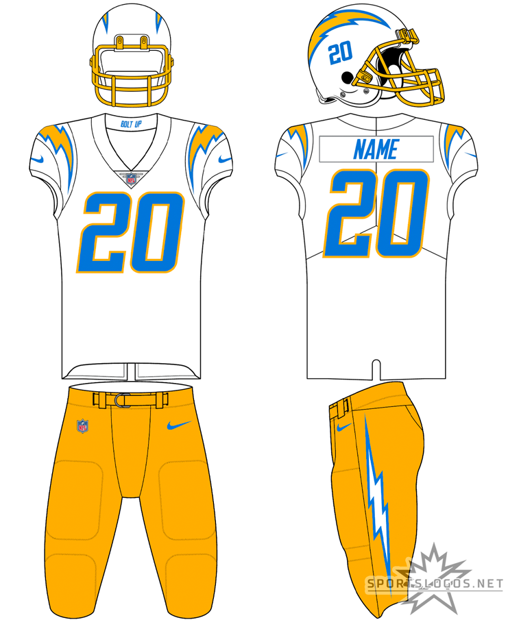 Los Angeles Chargers Uniform Road Uniform (2020-Pres) - For road games, typically, the Los Angeles Chargers will wear this white top with powder blue numbers trimmed in gold. The Chargers helmet is white with a gold facemask and each player's number shown on the side under the logo. Pants are usually gold but this uniform can also be worn with white pants if the team so chooses. SportsLogos.Net