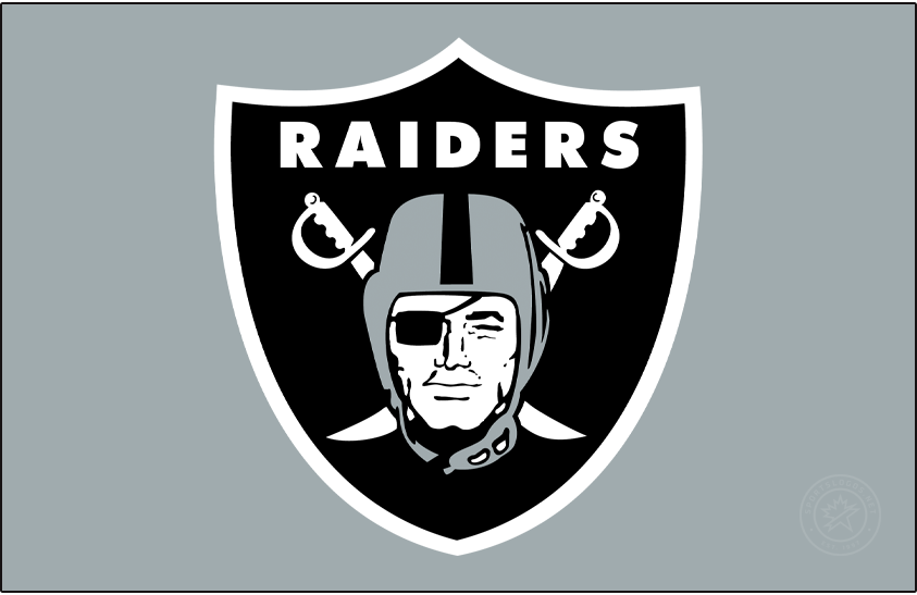 Las Vegas Raiders Logo Primary Dark Logo (2020-Pres) - The Las Vegas Raiders mostly retained their long-used primary logo, a pirate wearing a silver football helmet and a black eye patch on a black shield, from their days in Oakland and Los Angeles upon moving to Las Vegas in 2020. This version, shown here on silver, eliminates the thin black outline that was added to the primary logo for use only on white backgrounds. SportsLogos.Net