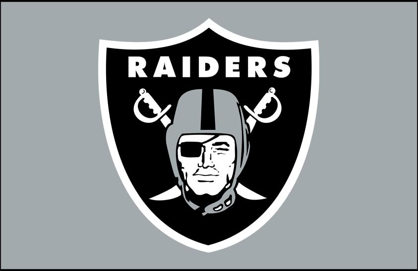 Las Vegas Raiders Logo Helmet Logo (2020-Pres) - Pirate head wearing an eyepatch and a silver helmet, crossed swords and a black shield behind with team name above on silver, worn on the side of the Las Vegas Raiders helmets since their inaugural 2020 season SportsLogos.Net