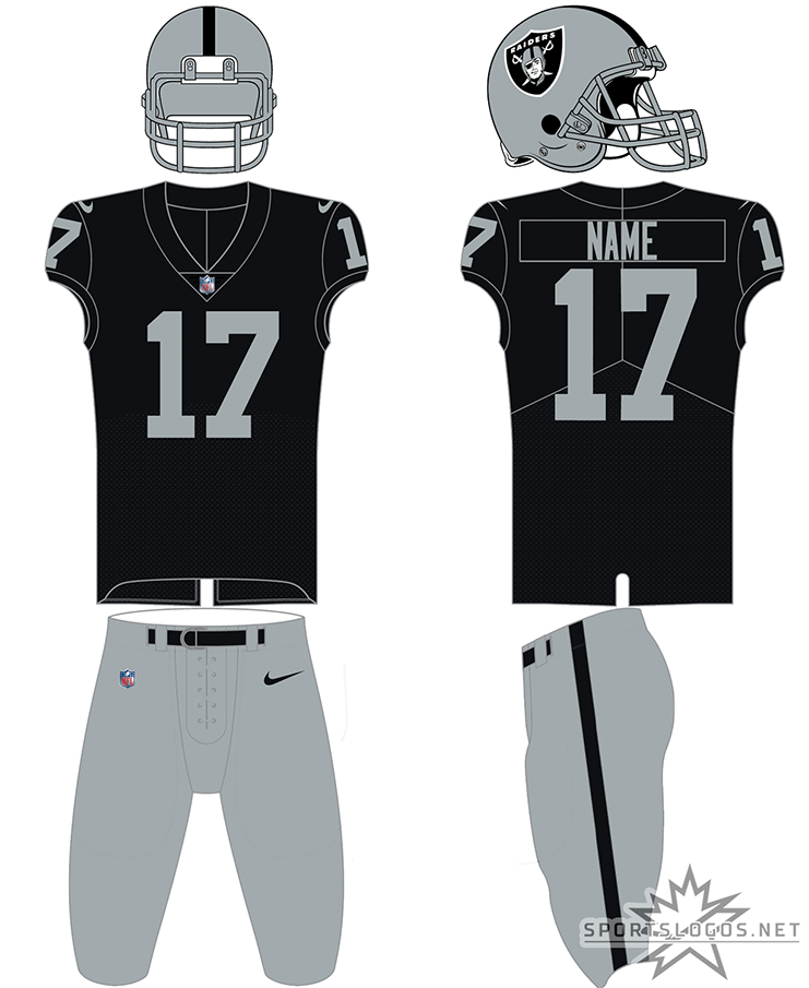 Las Vegas Raiders Uniform Home Uniform (2020-Pres) - The Las Vegas Raiders made no change whatsoever to their home and road uniforms upon their relocation from Oakland to Las Vegas in 2020. The uniform, typically worn for home games, features a silver shelled helmet with the primary logo on the side and silver facemask, black jersey with only silver name and numbers, and silver pants with a single black stripe down the side. SportsLogos.Net