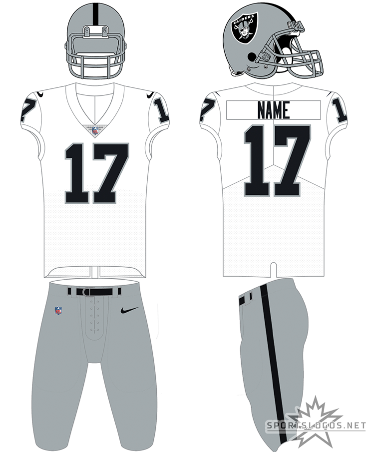 Las Vegas Raiders Uniform Road Uniform (2020-Pres) - The Las Vegas Raiders made no change whatsoever to their home and road uniforms upon their relocation from Oakland to Las Vegas in 2020. The uniform shown here, typically worn for road games, features a silver shelled helmet with the primary logo on the side and silver facemask, a white jersey with only black name and numbers, and silver pants with a single black stripe down the side. SportsLogos.Net