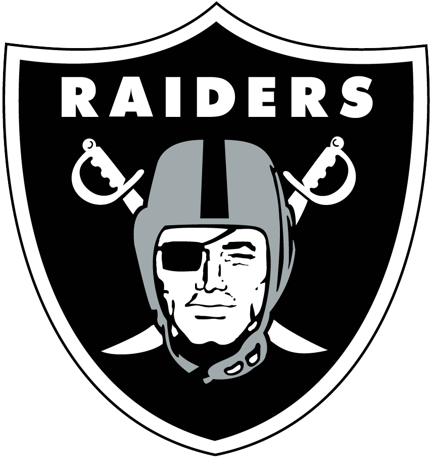 Las Vegas Raiders Logo Primary Logo (2020-Pres) - The Las Vegas Raiders mostly retained their long-used primary logo, a pirate wearing a silver football helmet and a black eye patch on a black shield, from their days in Oakland and Los Angeles upon moving to Las Vegas in 2020. The lone change was the addition of a black outline to outside of the shield which is for use only when the Las Vegas Raiders logo is shown on a white background. SportsLogos.Net