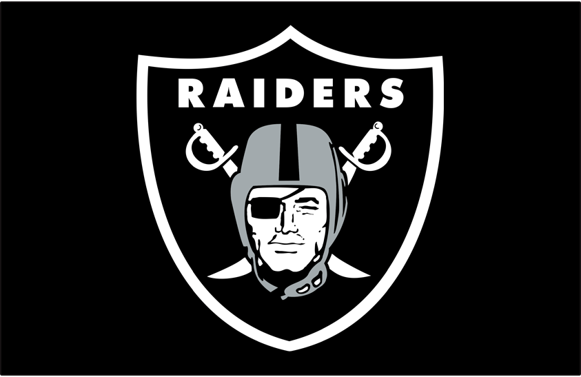 Las Vegas Raiders Logo Primary Dark Logo (2020-Pres) - The Las Vegas Raiders mostly retained their long-used primary logo, a pirate wearing a silver football helmet and a black eye patch on a black shield, from their days in Oakland and Los Angeles upon moving to Las Vegas in 2020. This version, shown here on black, eliminates the thin black outline that was added to the primary logo for use only on white backgrounds. SportsLogos.Net