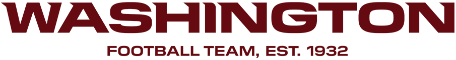 Washington Football Team Logo Primary Logo (2020-Pres) - The Washington Football Team uses a wordmark-style design as their primary logo. The name of the team is spelled out in uppercase burgundy lettering with angled serifs consistently in the top left of each letter. The original 1932 establishment date of the Boston Redskins is shown below the city name. This logo first appeared during the 2020 NFL Football season. SportsLogos.Net
