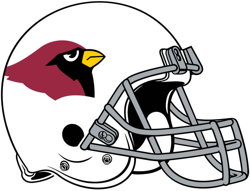 Phoenix Cardinals Helmet Helmet (1988-1993) - White helmet with cardinal head on the side, gray facemask SportsLogos.Net