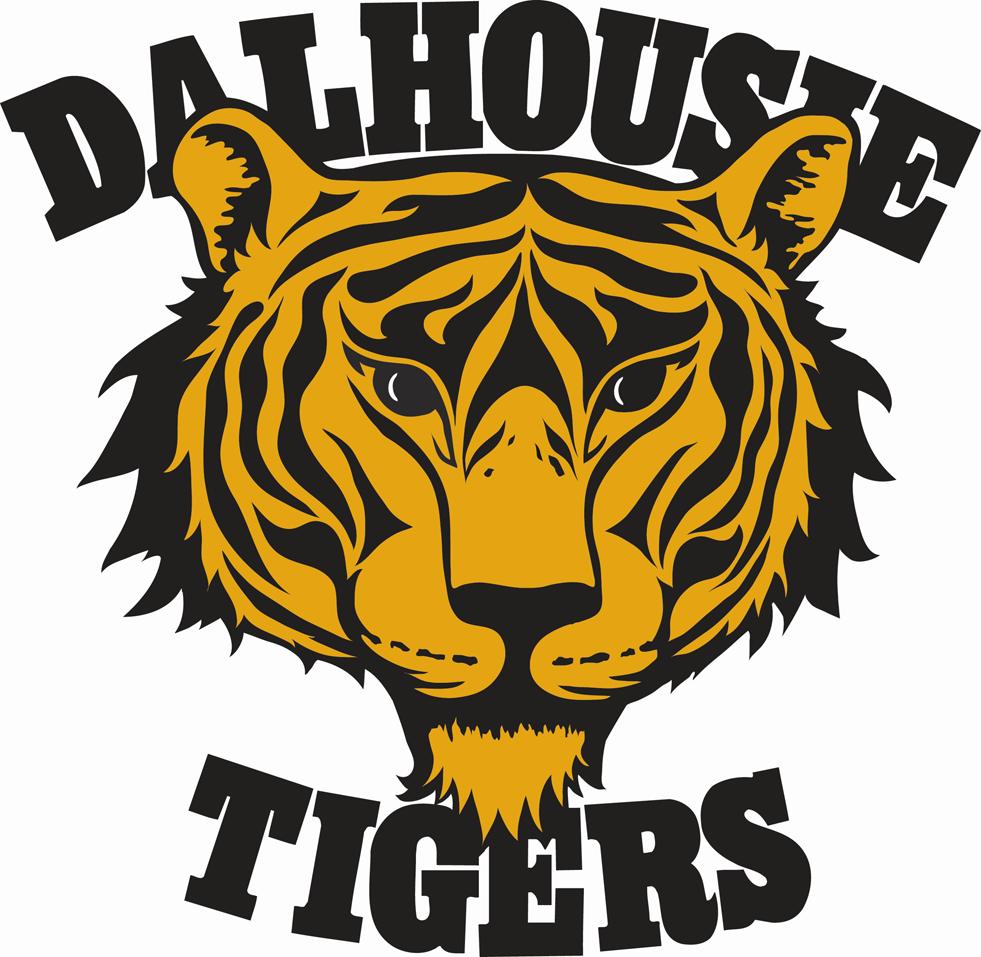 Dalhousie Tigers Logo Primary Logo (1975-Pres) - A gold and black tiger head with Dalhousie Tigers written around it SportsLogos.Net