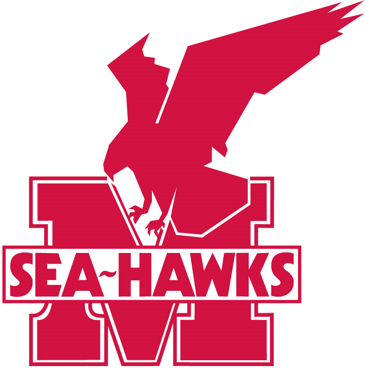 Memorial Sea-Hawks Logo Primary Logo (1975-Pres) - A red hawk above a red letter 'M' and 'Sea-Hawks' on it SportsLogos.Net