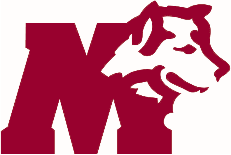 Saint Marys Huskies Logo Primary Logo (1975-2011) - A maroon 'M' with a husky next to it SportsLogos.Net