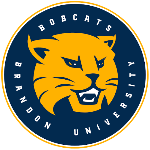Brandon Bobcats Logo Primary Logo (2017-Pres) - A yellow bobcat head inside a blue circle with team name around in white SportsLogos.Net