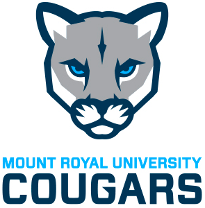 MRU Cougars Logo Primary Logo (2017-Pres) - A cougar face in grey with blue and light blue trim SportsLogos.Net