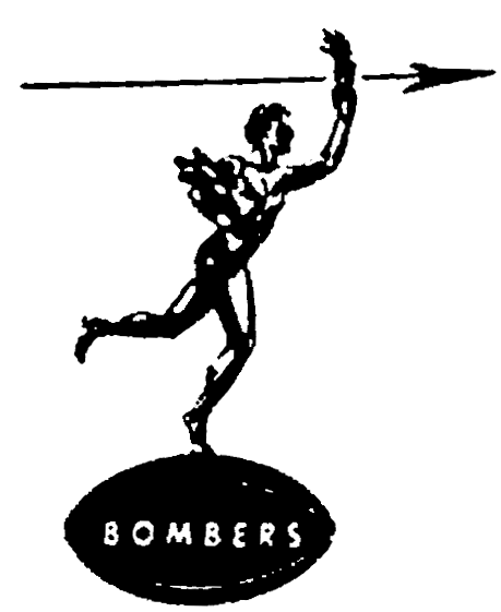 Winnipeg Blue Bombers Logo Primary Logo (1959-1965) - Depiction of the Golden Boy statue from Manitoba parliament building in Winnipeg with BOMBERS SportsLogos.Net
