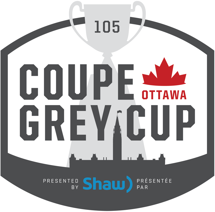 Grey Cup Logo Unused Logo (2017) - Original logo unveiled for 105th Grey Cup played in Ottawa. The logo was later altered changing the grey to black and the Shaw logo to white from blue. SportsLogos.Net