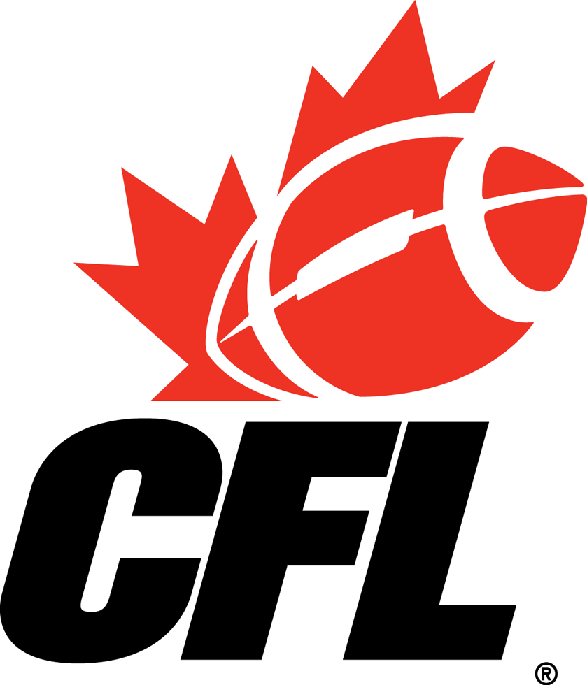 Canadian Football League Logo Primary Logo (2002-2015) - Red maple leaf with football above CFL in black italics SportsLogos.Net