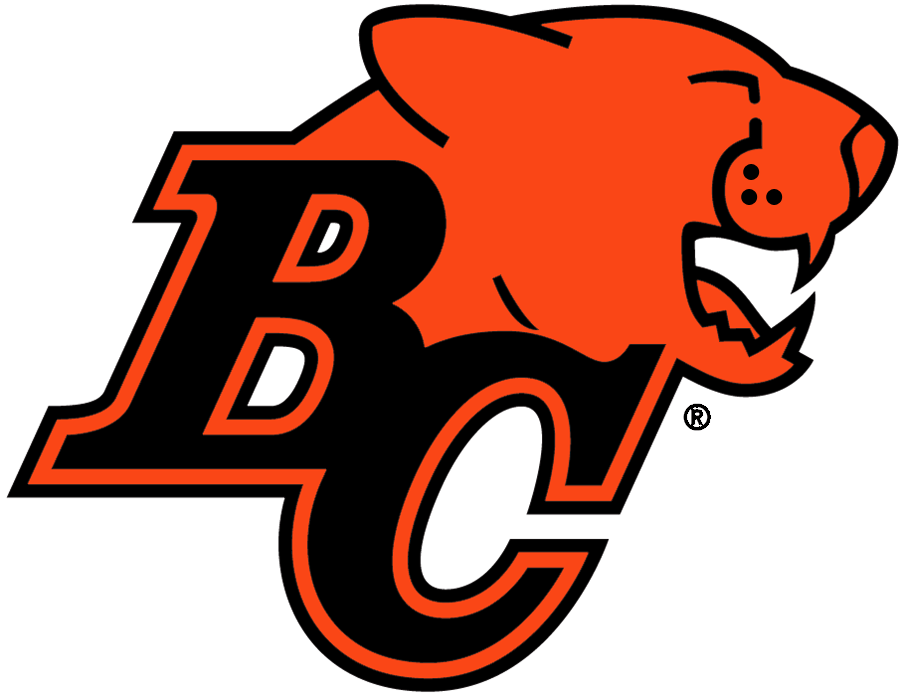 BC Lions Logo Primary Logo (1990-2004) - Black BC with orange Lions head SportsLogos.Net