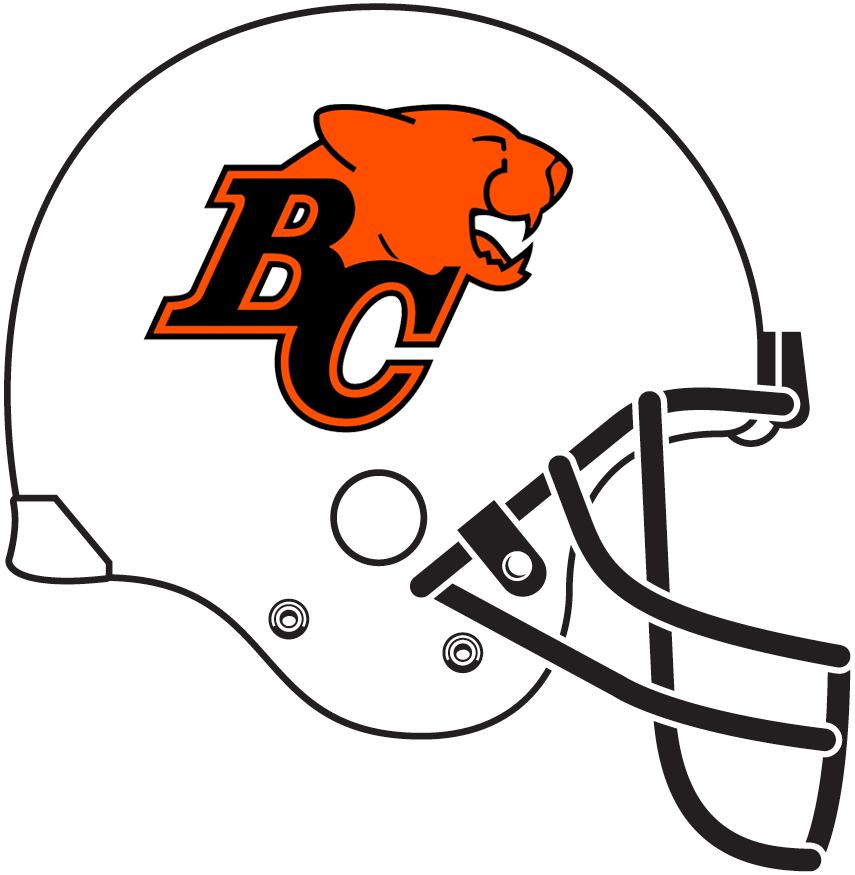 BC Lions Helmet Helmet (2005-2010) - White helmet with black facemask SportsLogos.Net