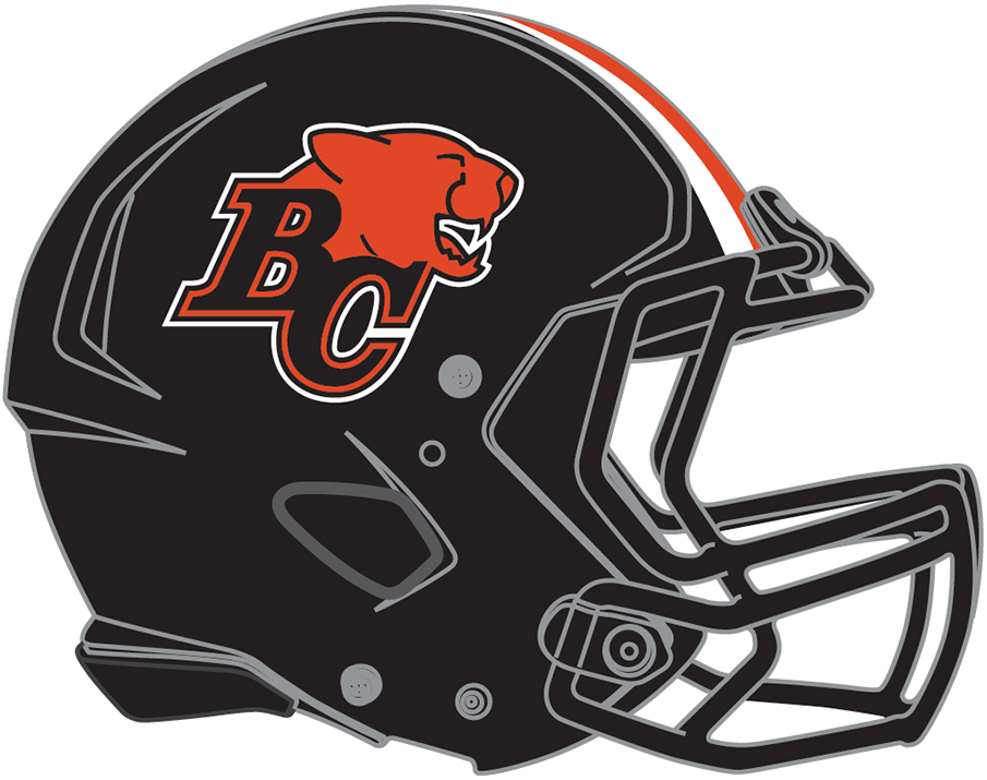 BC Lions Helmet Helmet (2019-Pres) - BC Lions primary logo on black shell with black facemask and white/orange/white striping SportsLogos.Net