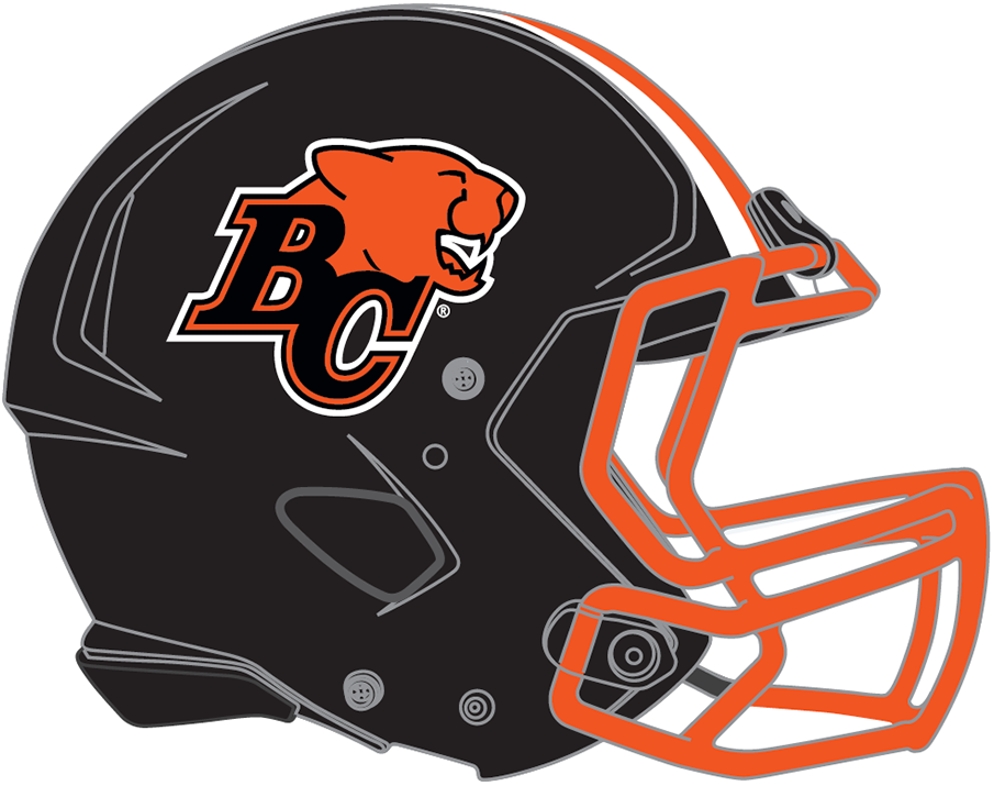 BC Lions Logo Unused Logo (2019) - Black shell with Lions logo, orange facemask and orange/white stripes up the middle. Facemask colour changed to black prior to first game. SportsLogos.Net