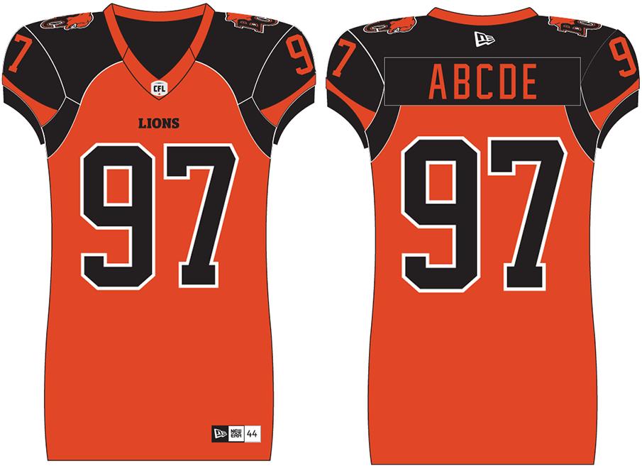 BC Lions Uniform Home Uniform (2019-Pres) - BC Lions home orange uniform beginning in 2019 season SportsLogos.Net