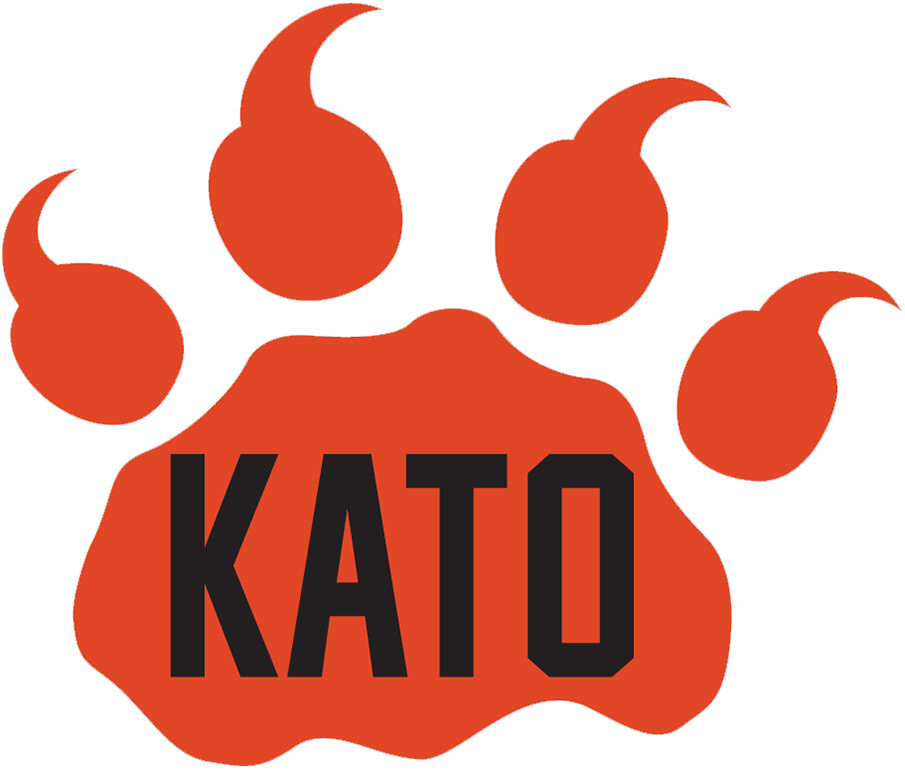BC Lions Logo Memorial Logo (2019) - An orange lions paw with KATO in black letters, worn as a helmet decal in memory of longtime BC Lions equipment manager Ken
