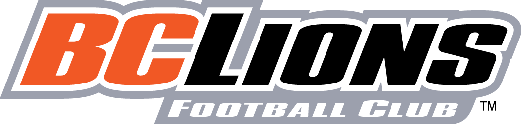 BC Lions Logo Wordmark Logo (2005-2015) - BCLions in black and orange outlined in silver SportsLogos.Net