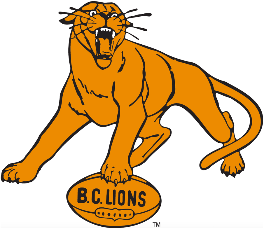BC Lions Logo Primary Logo (1954-1966) - Orange lion with its paw on a football containing the team name B.C. Lions SportsLogos.Net