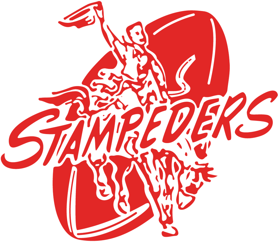 Calgary Stampeders Logo Primary Logo (1945-1971) - A red cowboy on a bucking bronco against a football with script SportsLogos.Net