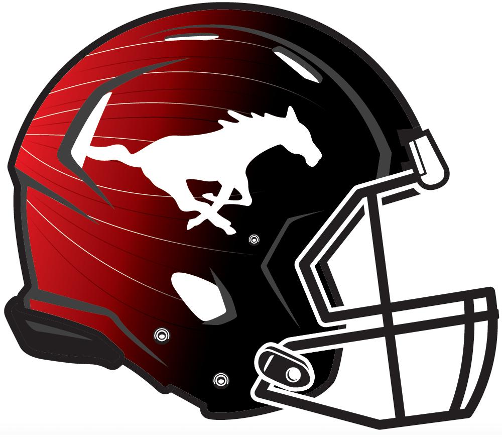 Calgary Stampeders Helmet Helmet (2015-2018) - A galloping white horse with a black drop shadow on a red-to-black gradient helmet with black facemask. Stampeders signature helmet 2015-17, alternate helmet starting in 2018 SportsLogos.Net