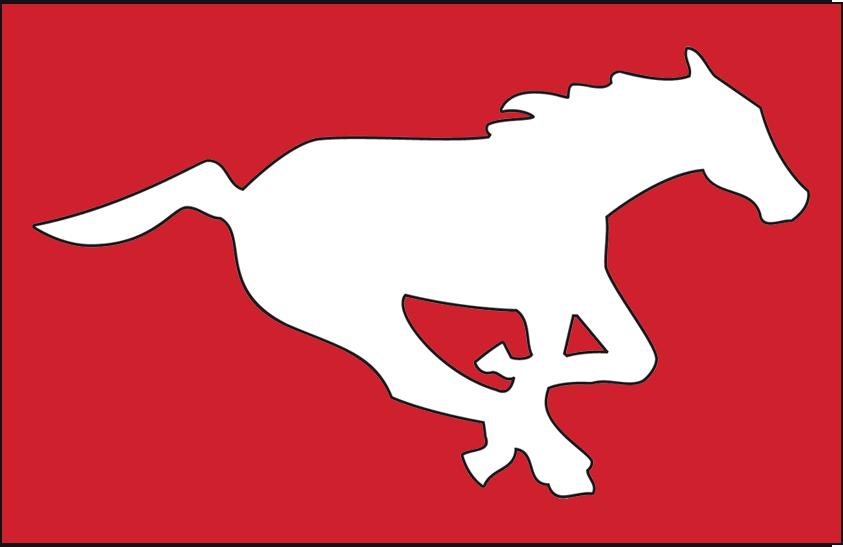 Calgary Stampeders Logo Primary Dark Logo (1996-2012) - A galloping white horse on red SportsLogos.Net