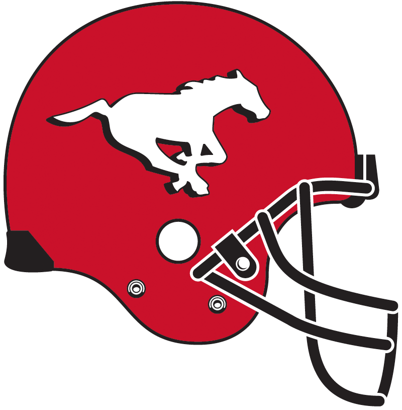 Calgary Stampeders Helmet Helmet (2013-Pres) - A galloping white horse with a black drop shadow on a red shell with black facemask, worn for home games only SportsLogos.Net