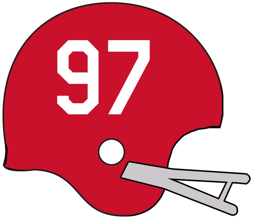 Calgary Stampeders Helmet Helmet (1962-1967) - Red helmet with grey facemask, player numbers on side of helmet. Worn by Stampeders from 1962 to 1967 SportsLogos.Net