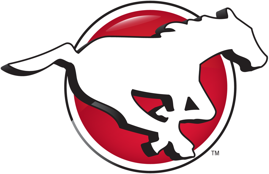 Calgary Stampeders Logo Primary Logo (2013-2015) - A galloping white horse on a red circle with a gradient and a black and white outline SportsLogos.Net