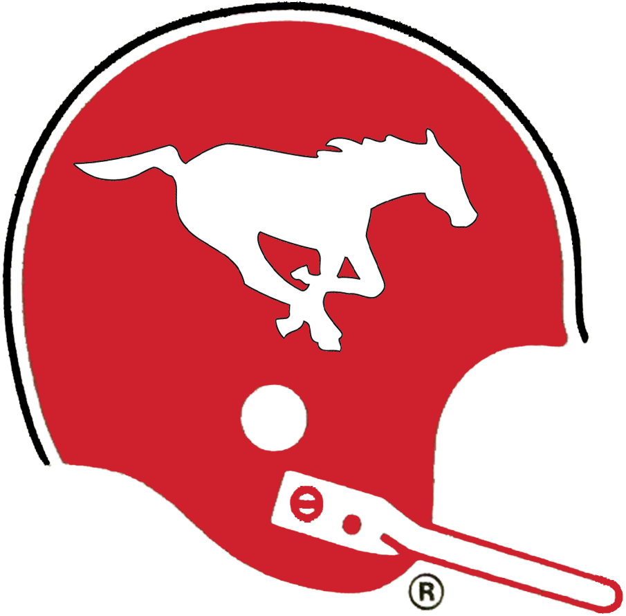 Calgary Stampeders Logo Primary Logo (1972-1986) - A galloping white horse on the side of a red helmet with a single-bar white facemask SportsLogos.Net