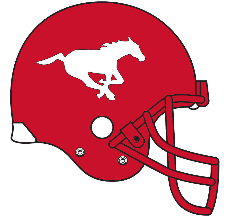 Calgary Stampeders Helmet Helmet (1977-1978) - A galloping white horse on a red helmet with red facemask SportsLogos.Net