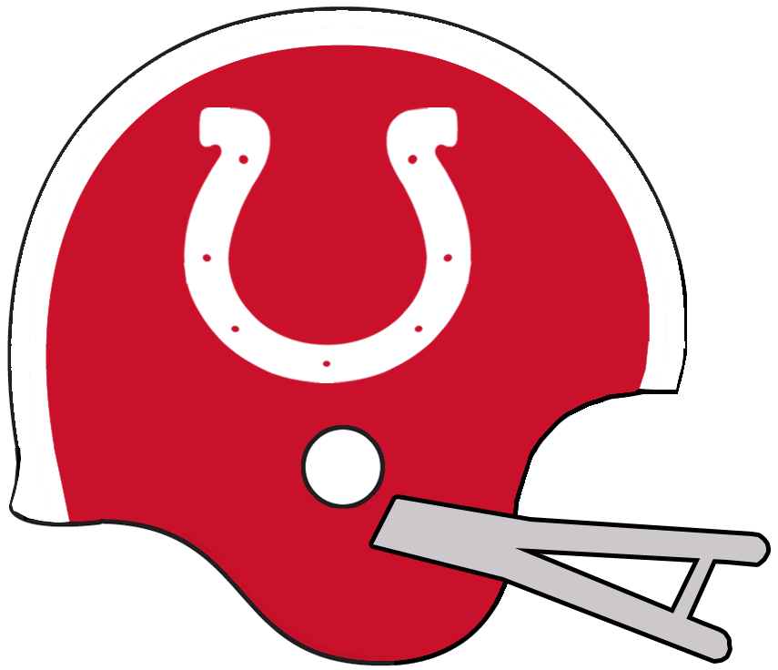 Calgary Stampeders Helmet Helmet (1960-1961) - A white horseshoe on a red helmet with red stripe and grey facemask, worn by Stampeders in 1960 and 1961 SportsLogos.Net