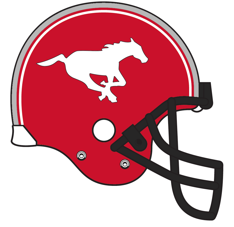 Calgary Stampeders Helmet Helmet (1982-1988) - A galloping white horse on a red helmet with black facemask and red, white, and silver stipes SportsLogos.Net
